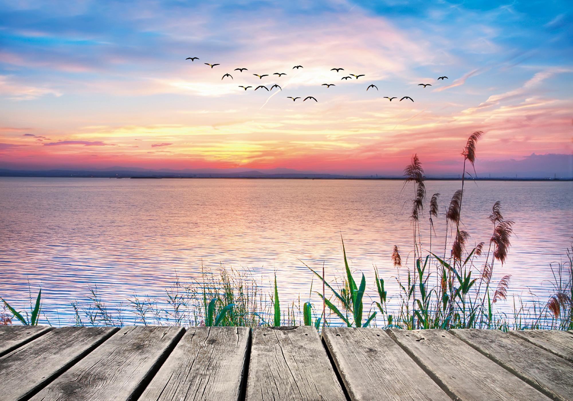 Home affaire Leinwandbild »Kesipun: Der See in den Farben der Wolken«, 100/70 cm