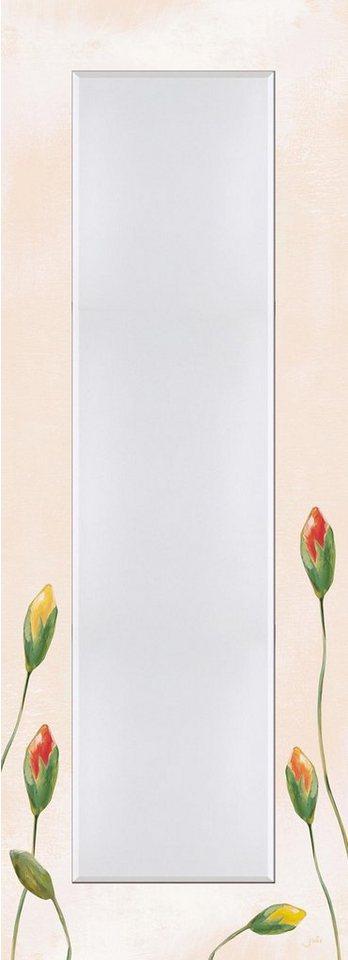 Home affaire Wandspiegel »Jule: Bunte Mohnblumen«, 50,4/140,4 cm in Creme