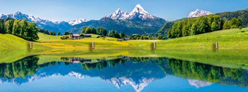 Home affaire Schlüsselbrett »canadastock: Panora einer Landschaft in den Alpen«, 40/14,8 cm in Blau