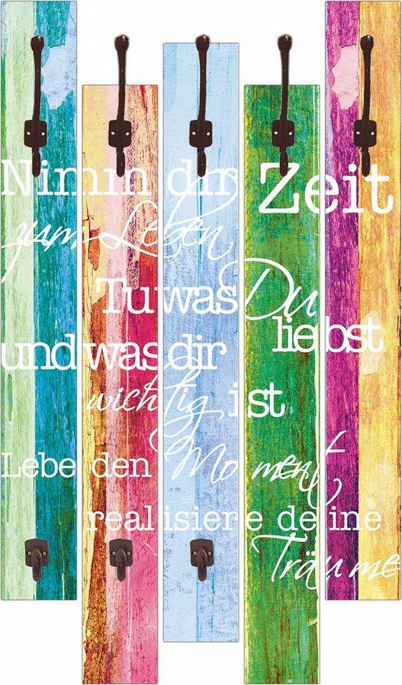 Home affaire Wandgarderobe »Jule: Nimm dir Zeit«, 68/114 cm in Bunt