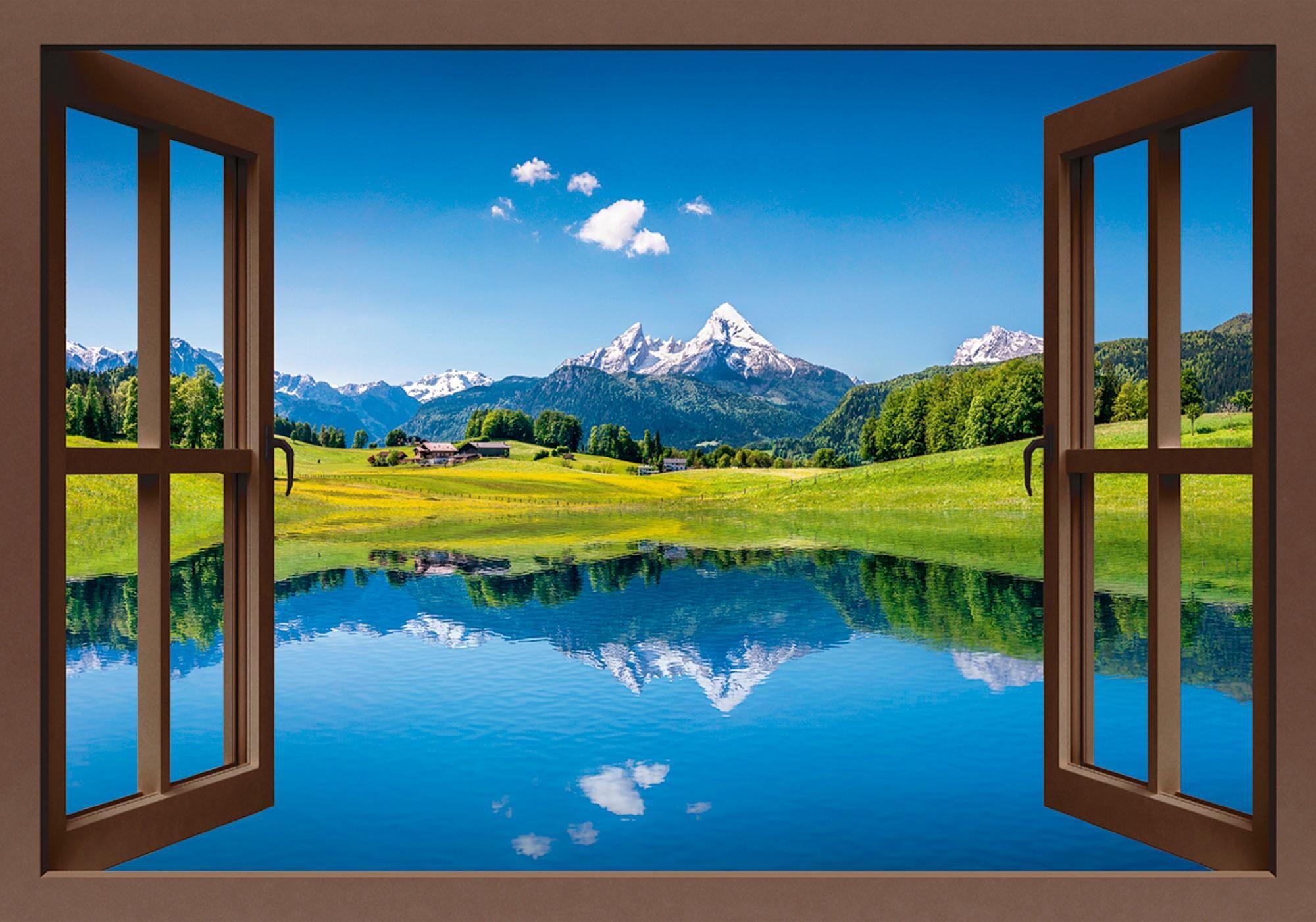Home affaire Leinwandbild »canadastock: Panoramasicht auf eine Landschaft in den Alpen«, 100/70 cm
