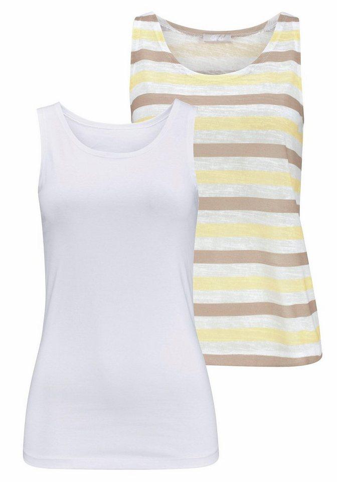 Cheer Tanktop (Packung, 2 tlg., 2er-Pack) in gelb-sand-gestreift+weiß