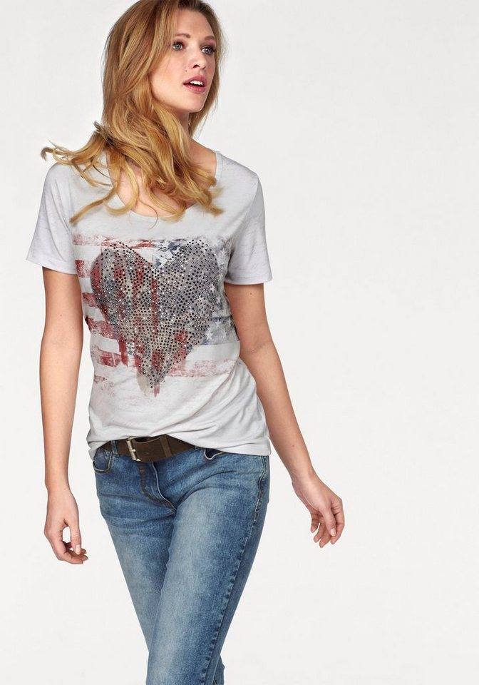 Tamaris T-Shirt mit Steinchen-Verzierung in wollweiß-rot-grau-marine