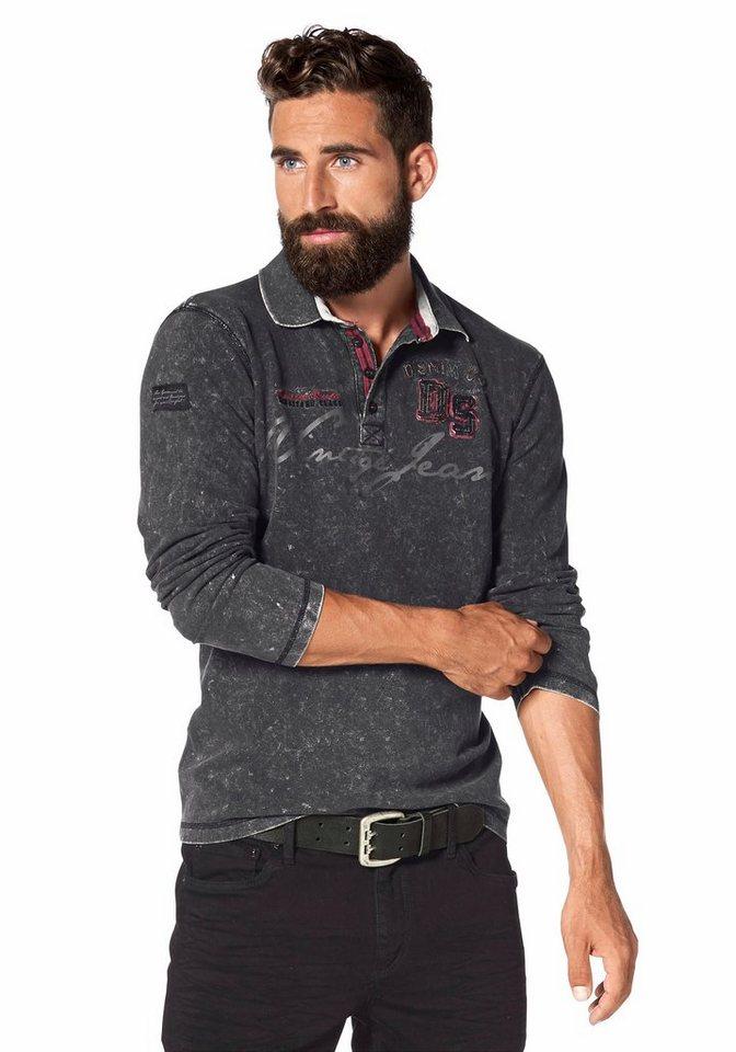 John Devin Langarm-Poloshirt Piqué Qualität in grau-washed