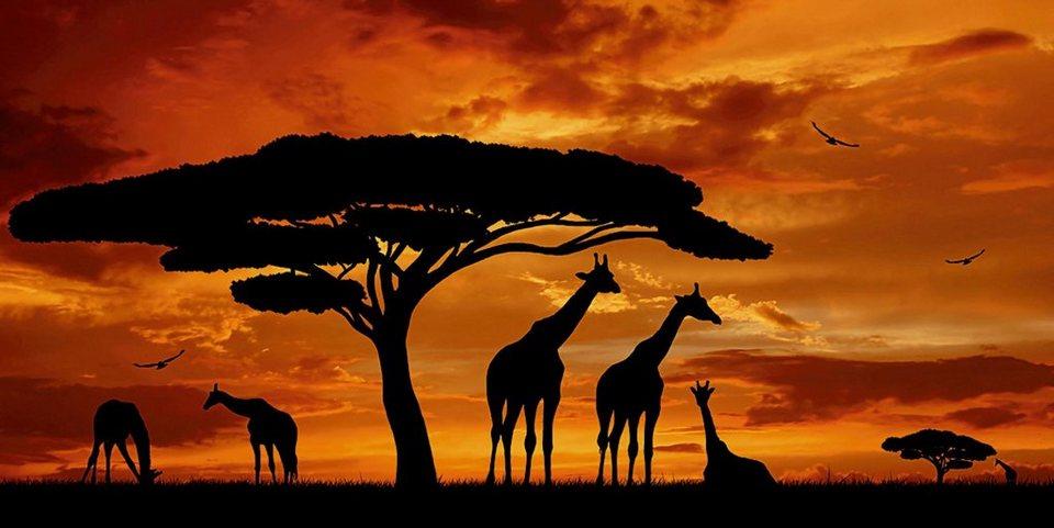 Home affaire Glasbild »vencav: Herde von Giraffen im Sonnenuntergang«, 100/50 cm in Braun
