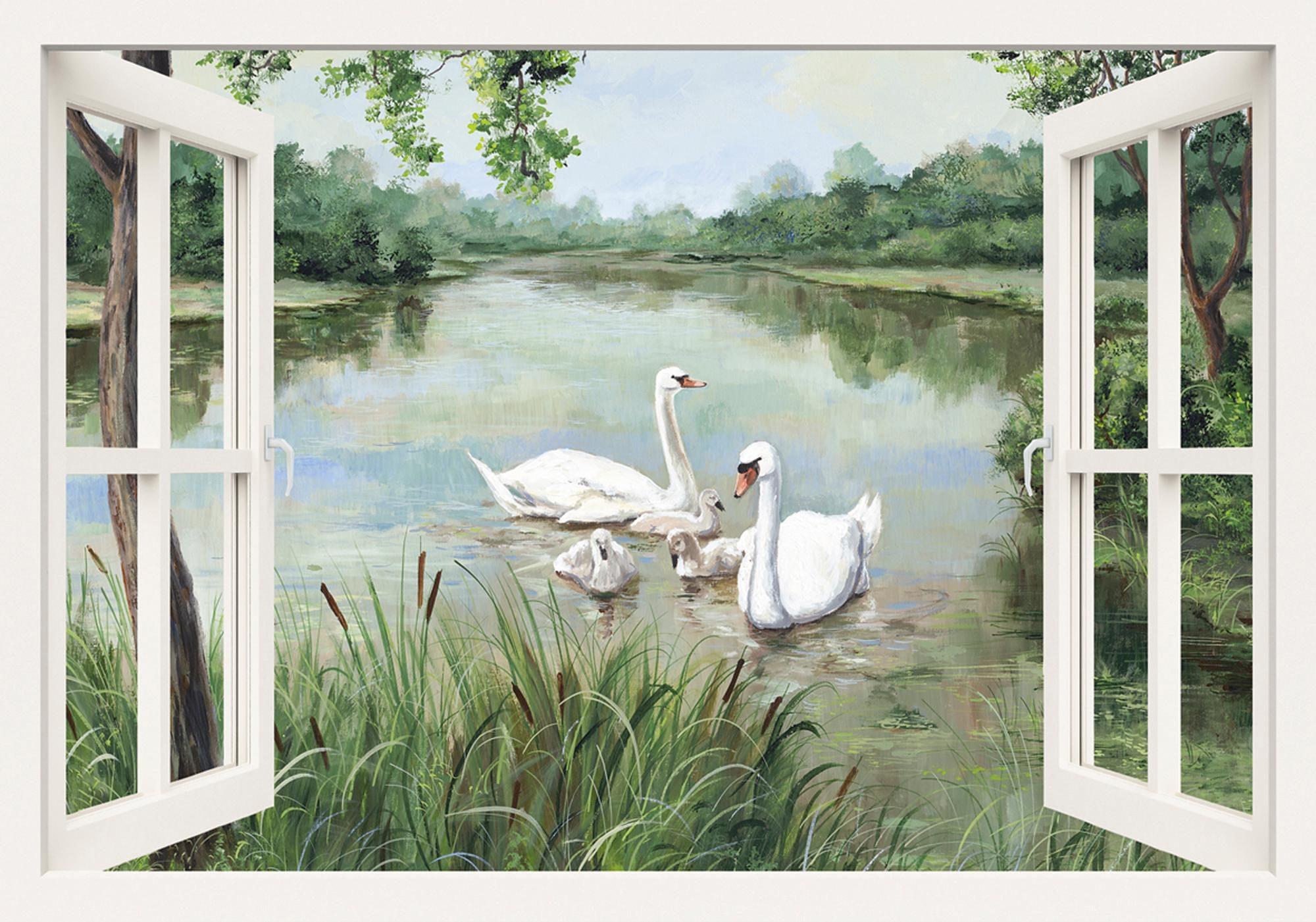 Home affaire Leinwandbild »Andres: Fensterblick - Schwäne«, 100/70 cm