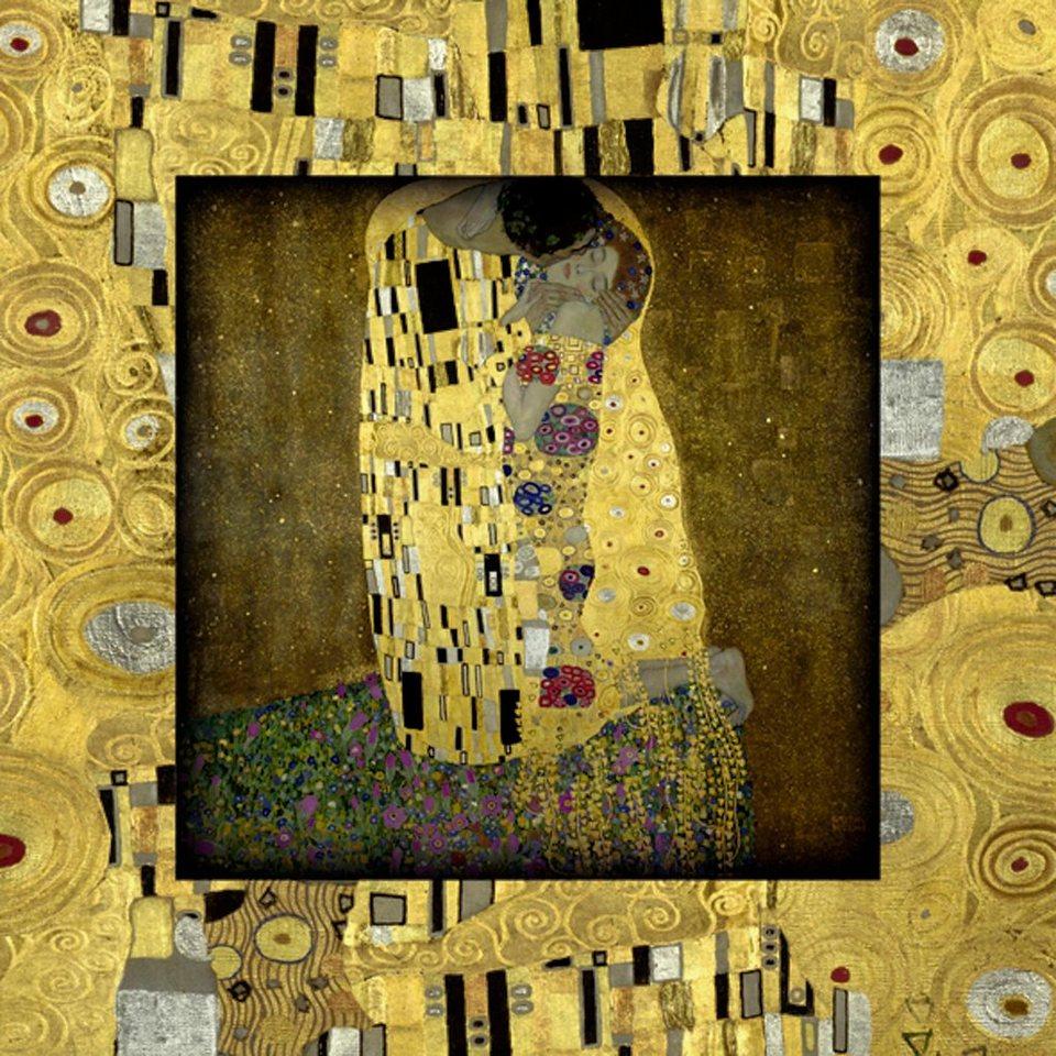 Home affaire Bild, Kunstdruck »G. Klimt: Der Kuß«, 50,4/50,4 cm in Gelb
