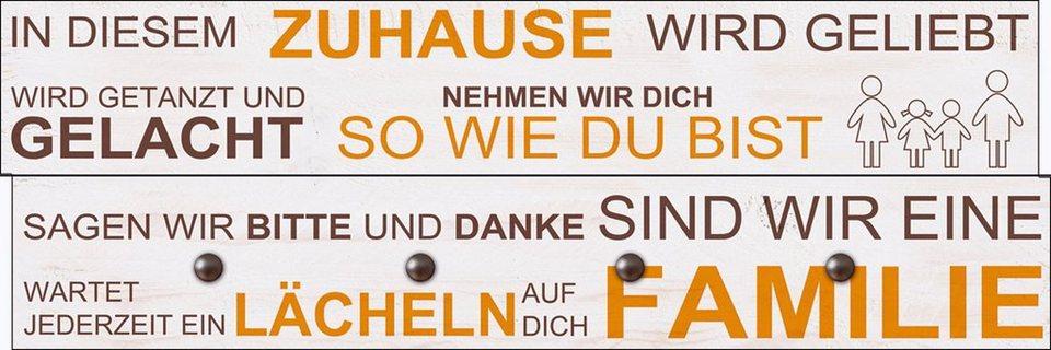 Home affaire Wandgarderobe »W. L.: In diesem Zuhause«, 90/30 cm in Natur