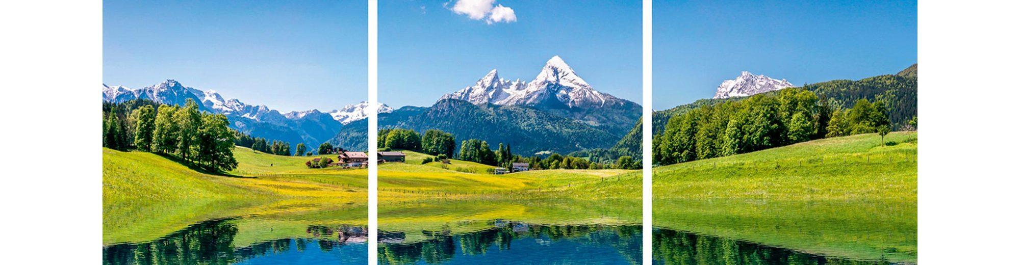 Home affaire Glasbilder »canadastock: Panora einer Landschaft in den Alpen«, 3x 30/30 cm