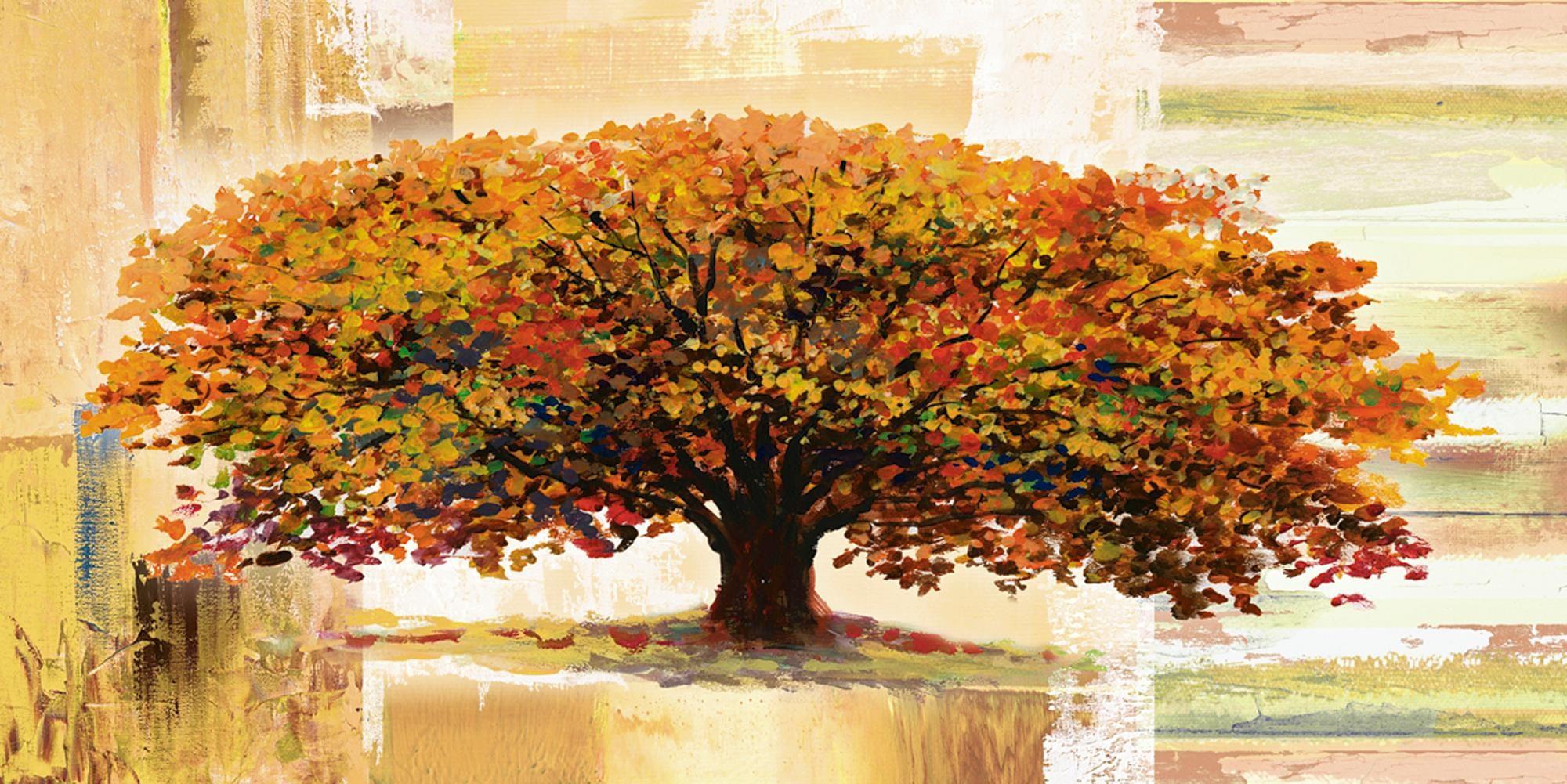 Home affaire Glasbild »A. S.: Herbstbaum auf abstraktem Hintergrund«, 100/50 cm