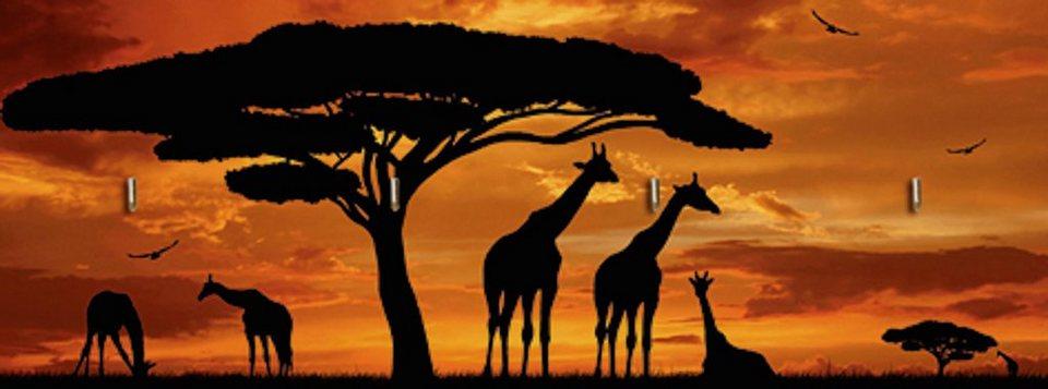 Home affaire Schlüsselbrett »vencav: Herde von Giraffen im Sonnenuntergang«, 40/14,8 cm in Braun