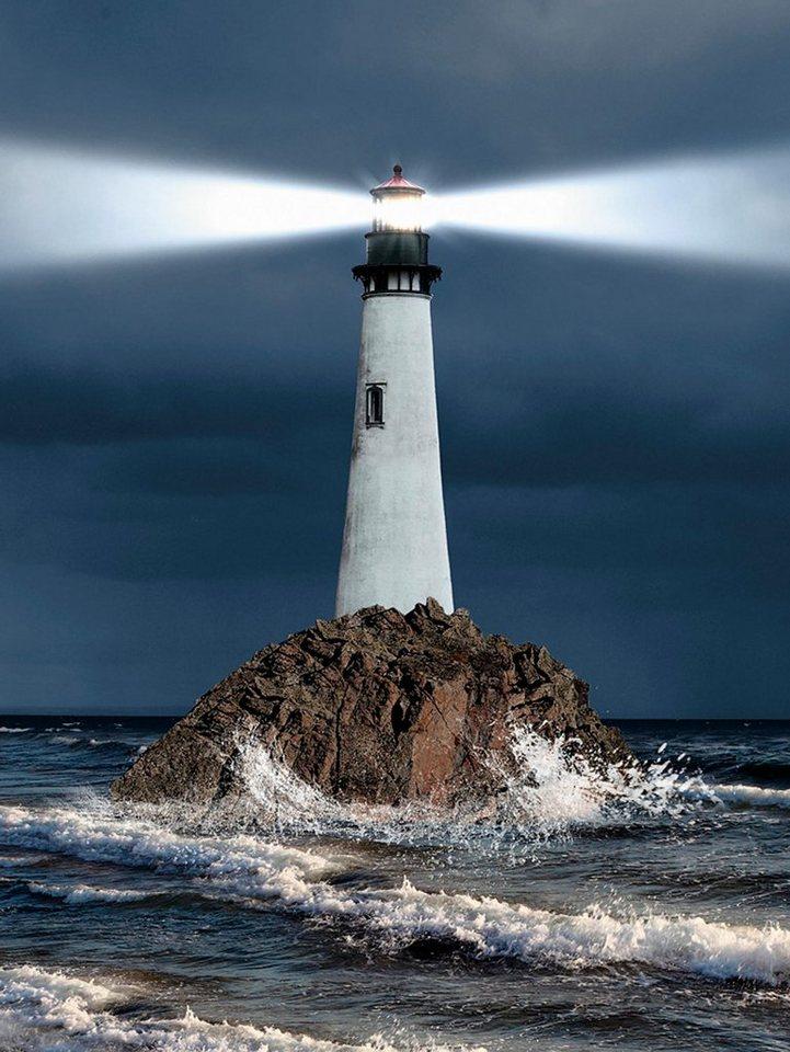 Home affaire Leinwandbild »S. Nivens: Leuchtturm mit einem starken Lichtstrahl«, 60/80 cm in Blau