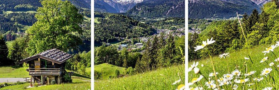 Home affaire Glasbilder »JFL Photography: Landschaft in den Bayerischen Alpen«, 3x 30/30 cm in Grün