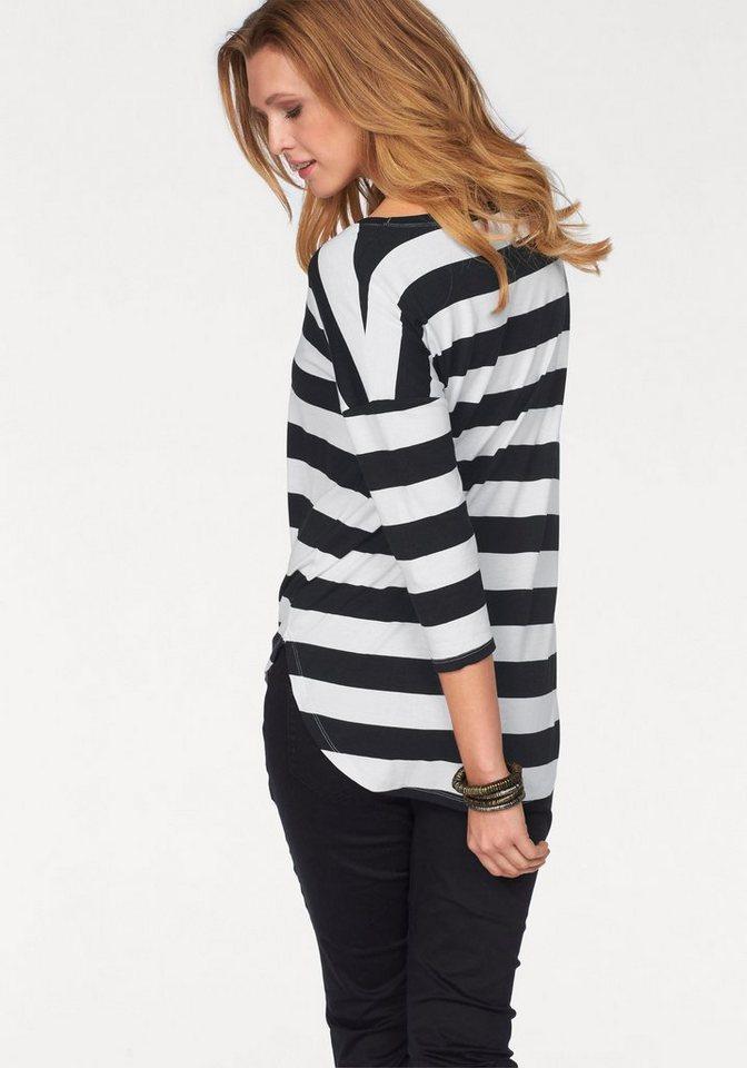 Tamaris 3/4-Arm-Shirt in schwarz-weiß-gestreift
