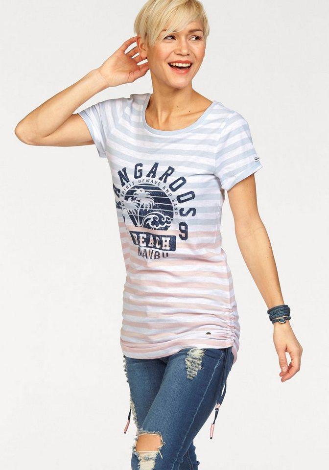 KangaROOS Print-Shirt mit großem Frontprint in hellblau-rosa-gestreift