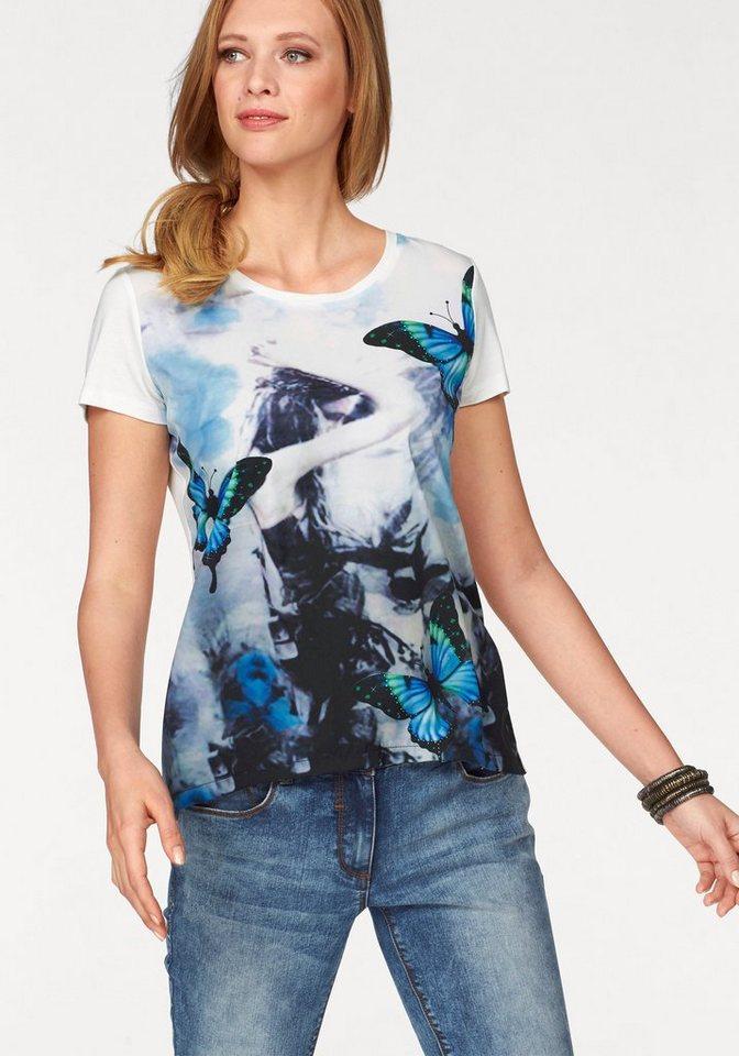Tamaris T-Shirt in weiß-schwarz-türkis-grün-bedruckt
