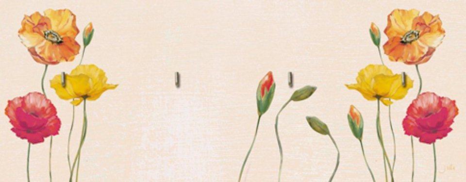 Home affaire Schlüsselbrett »Jule: Bunte Mohnblumen«, 40/14,8 cm in Creme