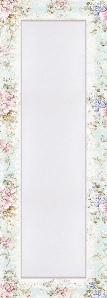 Home affaire Wandspiegel »tanginuk1205: Blumen mit nahtlosem Muster im Hintergrund«, 50,4/140,4 cm in Pink/Rosa