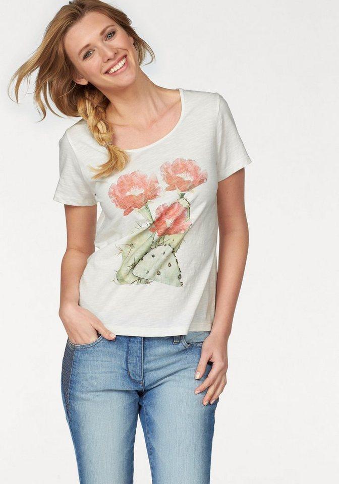 Cheer T-Shirt mit Blumendruck in wollweiß-koralle-grün-bedruckt