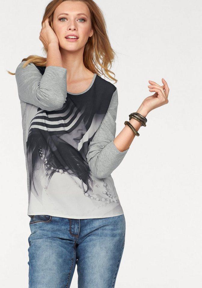 Tamaris Langarmshirt mit ausdrucksstarkem Print in grau-schwarz-meliert