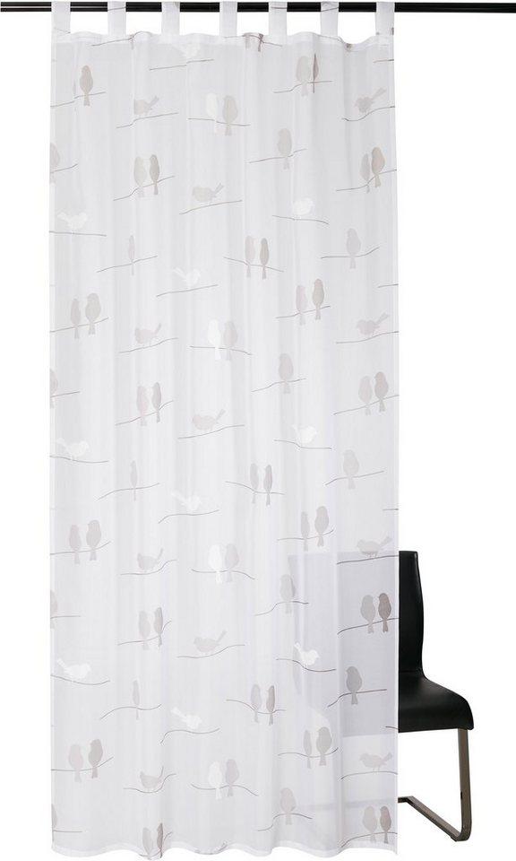 Vorhang, Kutti, »Birds« (1 Stück) in weiss-grau