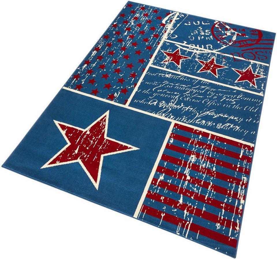 Teppich »Patchwork Stars«, Hanse Home, rechteckig, Höhe 9 mm in blau-rot