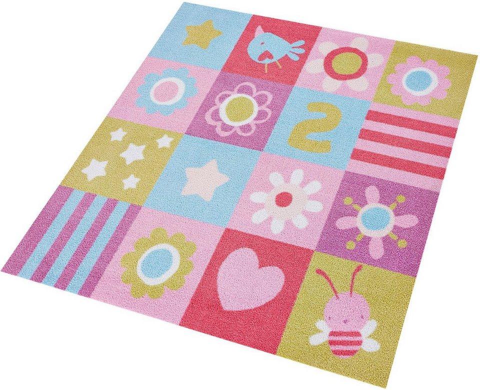 Kinderteppich grün rosa  Kinderteppich »Flower Patchwork«, Zala Living, quadratisch, Höhe 7 ...