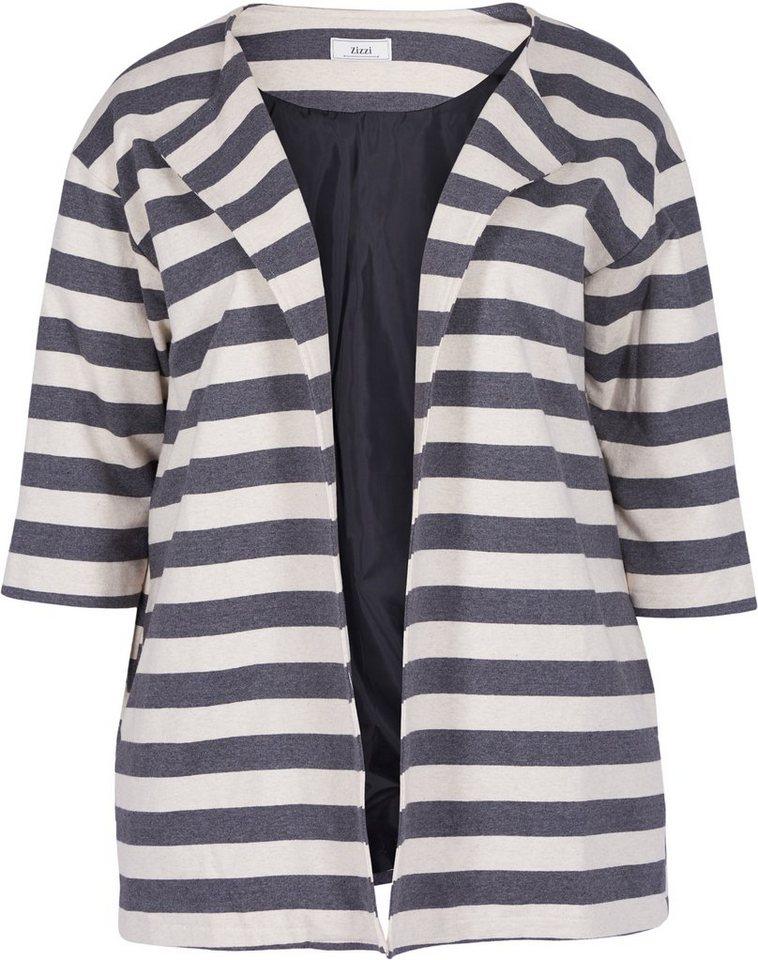 Zizzi Jacke in Asphalt Striped