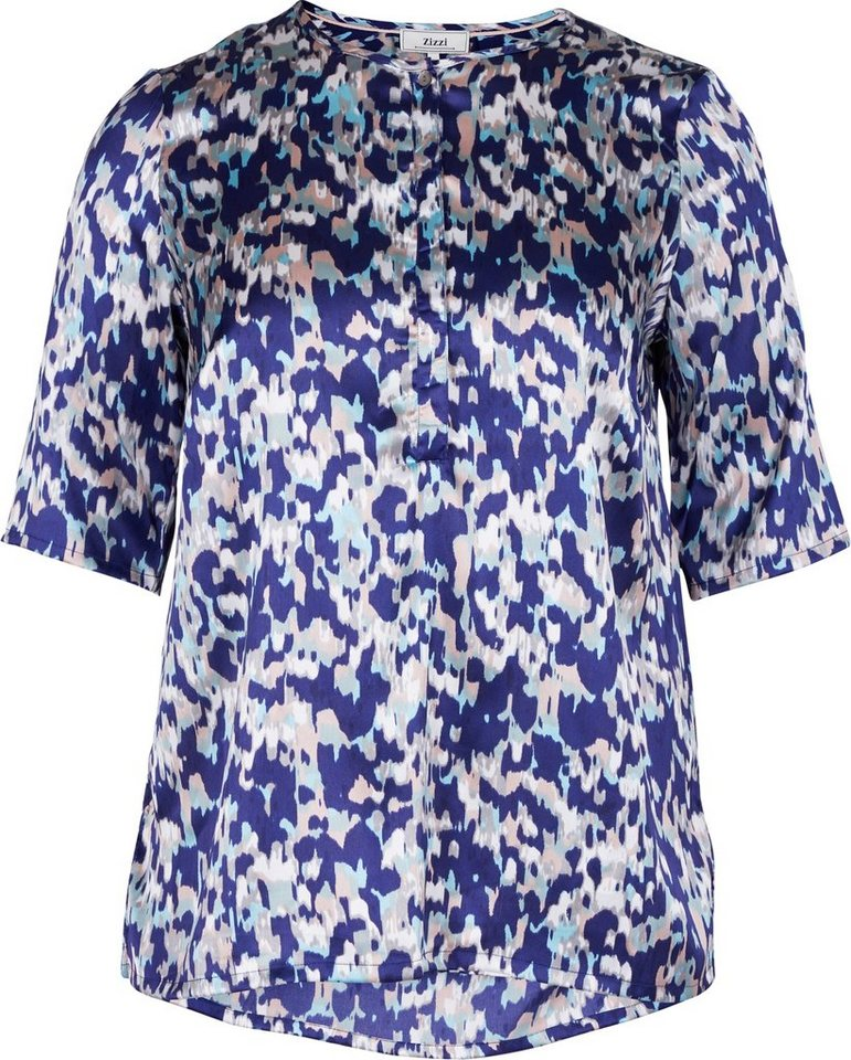 Zizzi Bluse in Canal Blue print as ss