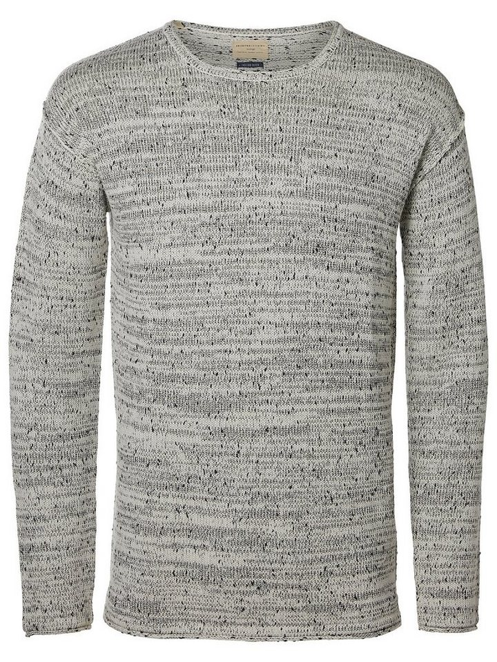 Selected Crew-Neck- Strickpullover in Marshmallow