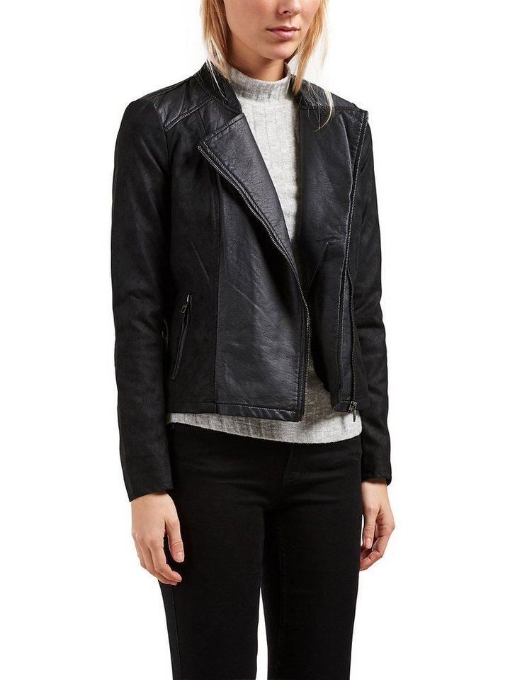 Only Kurz geschnittener Leder-Look Blazer in Black