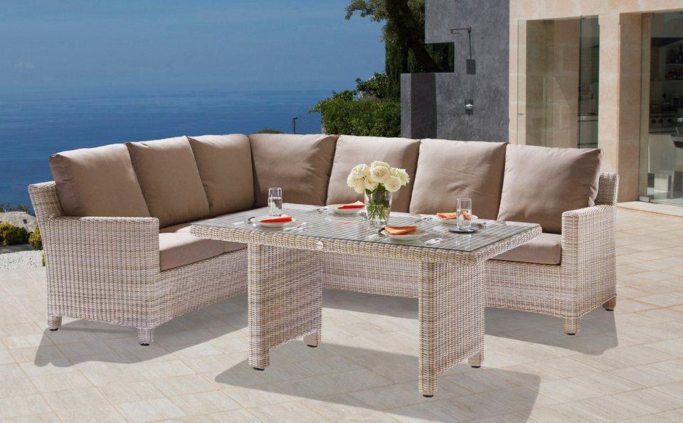 12-tgl Loungeset »Rio Cosy«, Ecklounge, Tisch 150x90 cm, Polyrattan, altweiß, inkl. Auflagen in altweiß