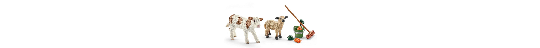 Schleich® Spielfigurenset, »Farm World - Stallpflege mit Kalb und Schäfchen«