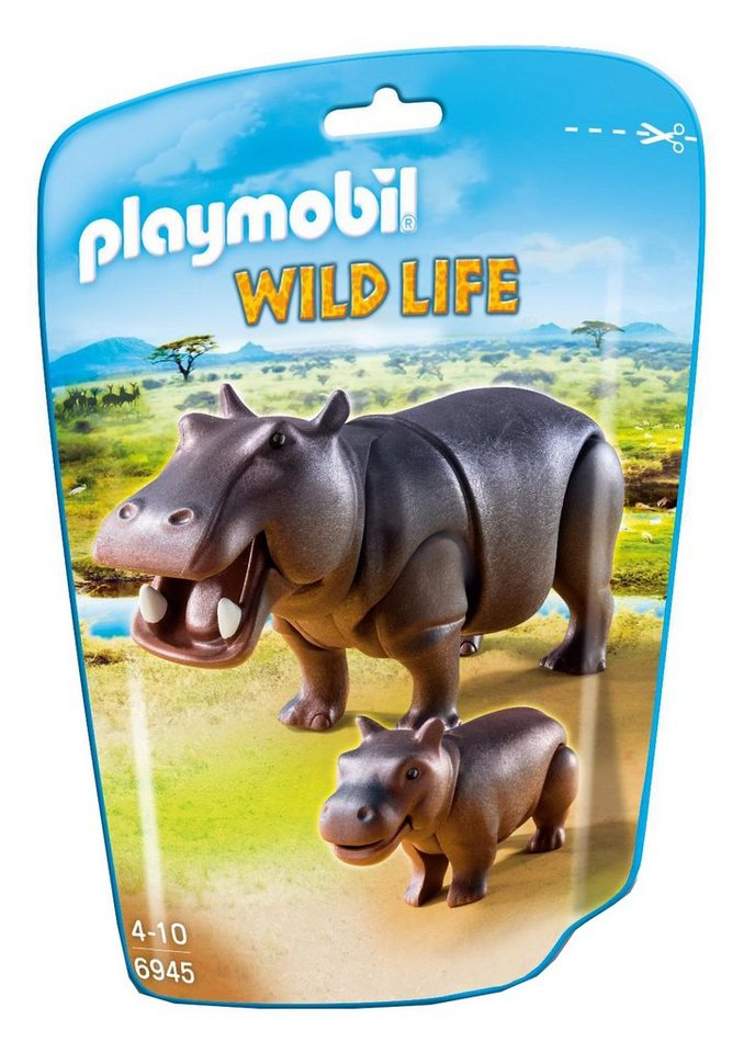 Playmobil® Nilpferd mit Baby (6945), Wild Life in rot
