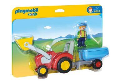Playmobil® Konstruktionsspielsteine »Traktor mit Anhänger (6964), 1-2-3«