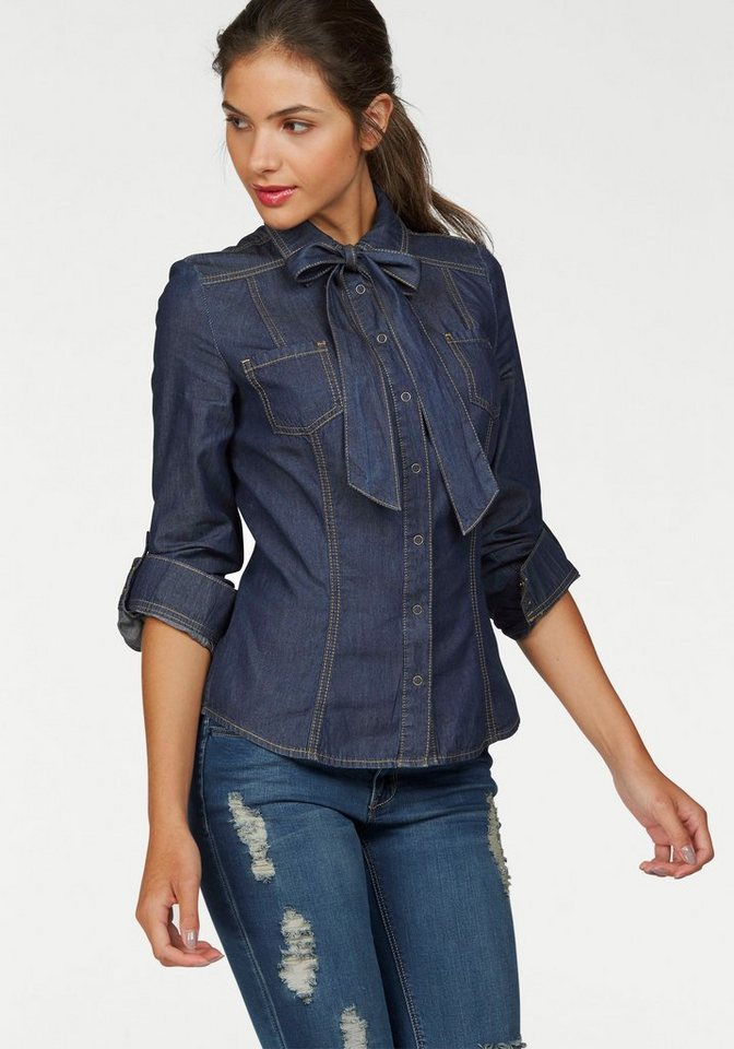 AJC Jeansbluse mit Schleife in blue-used