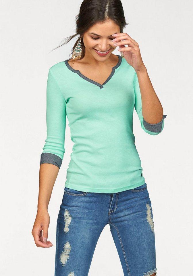 AJC V-Shirt mit Details aus leichter Jeans-Ware in mint-indigo