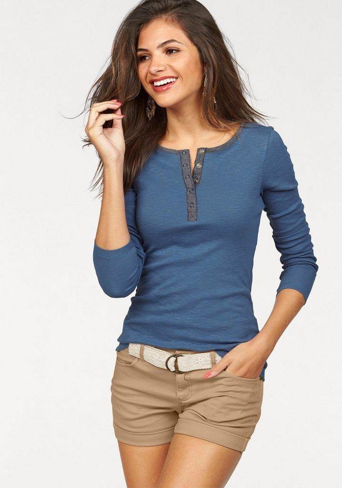 AJC Langarmshirt mit Knopfleiste aus leichtem Denim in jeans-blau