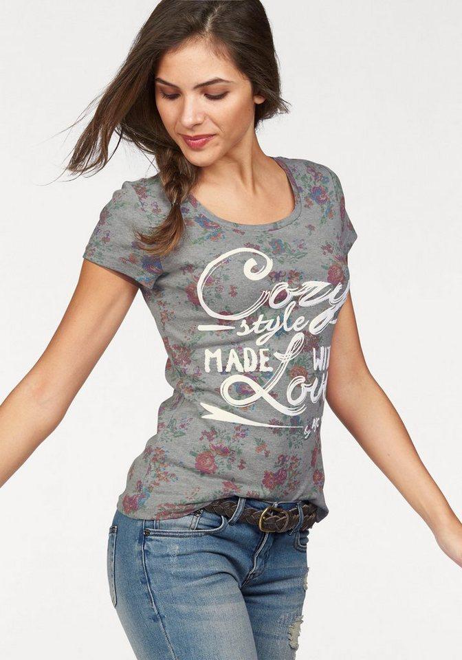 AJC T-Shirt mit Blumen und Statement Druck in grau
