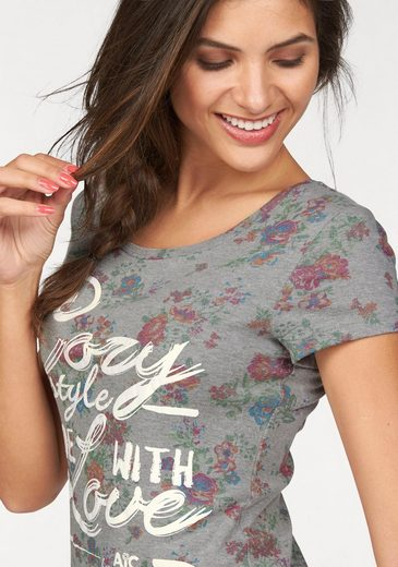 Ajc T-shirt, Floral And Statement Printing