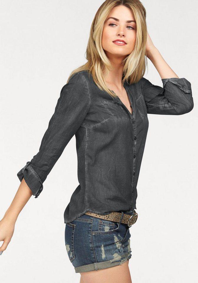 AJC Hemdbluse in weich gewaschener Jeans Optik in anthrazit