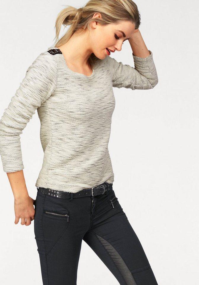 AJC Sweatshirt mit Schmucksteinen in ecru