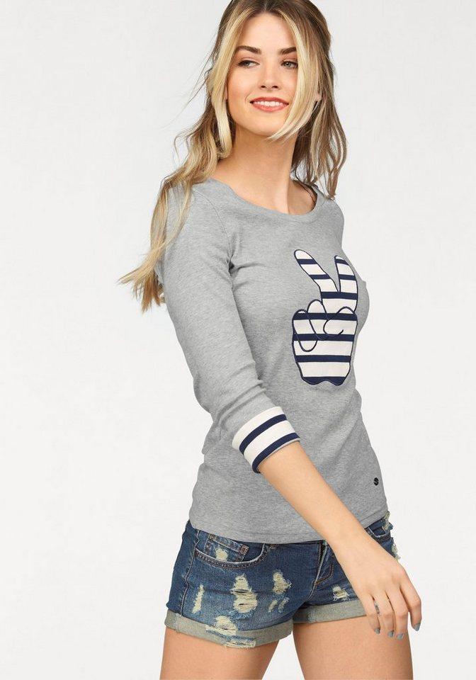AJC Rundhalsshirt mit gestreifter Applikation in grau-meliert-blau-weiß