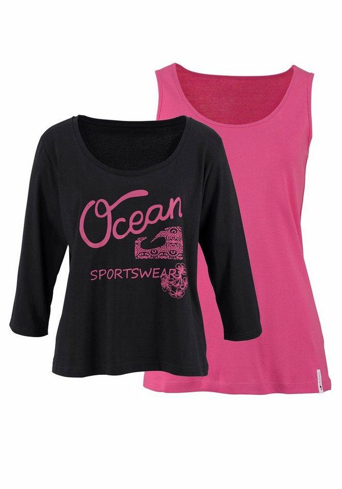Ocean Sportswear 2-in-1-Shirt Set: Shirt+Top (Set, 2 tlg., mit Top) in pink-schwarz