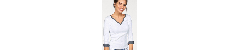 AJC V-Shirt, mit Details aus leichter Jeans-Ware