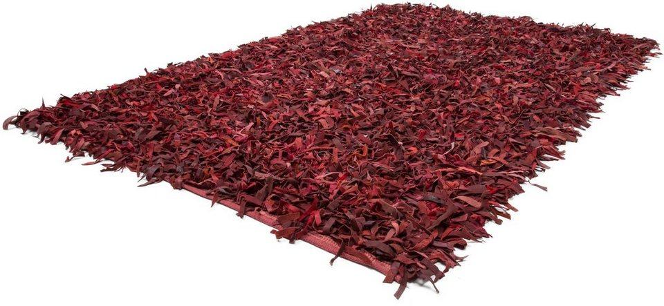 Unikat-Teppich, Kayoom, »Terence 310«, Höhe 50 mm, Leder, handgewebt in Rot