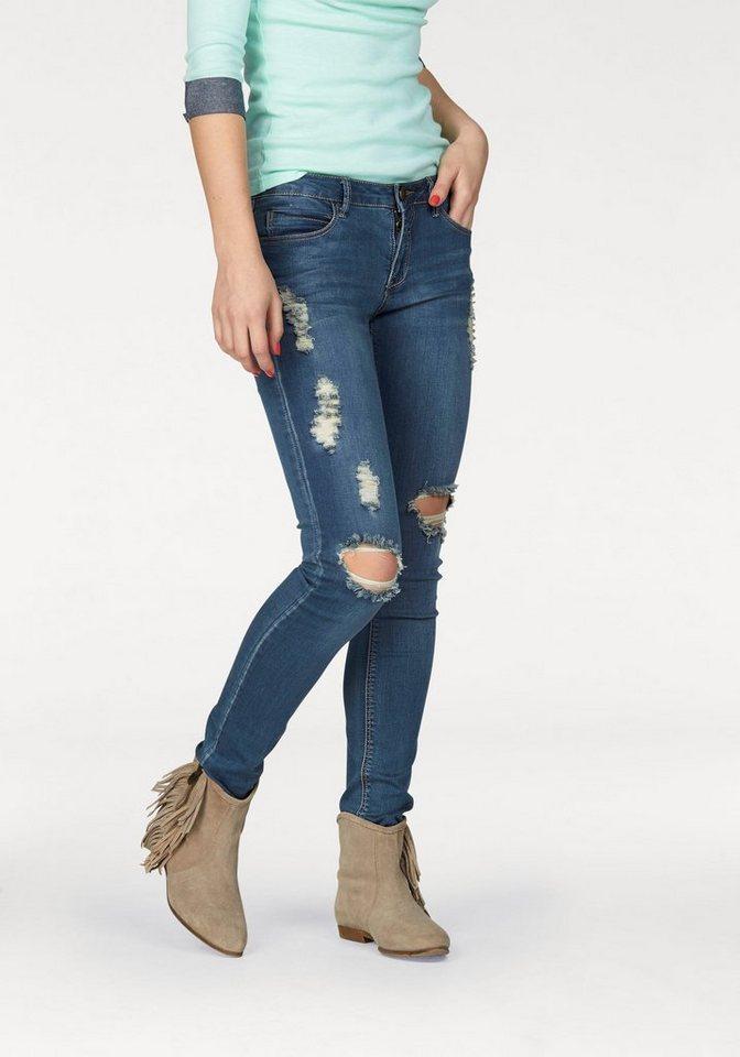 AJC 5-Pocket-Jeans mit Destroyed-Effekten in blue-used