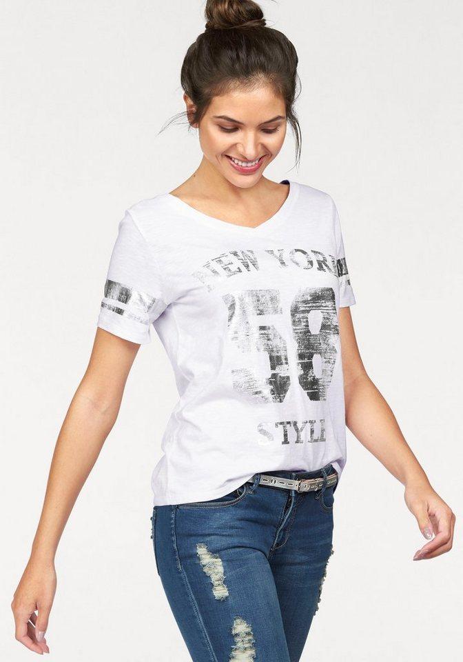 AJC T-Shirt mit silberfarbenem College-Druck in weiß-silberfarben