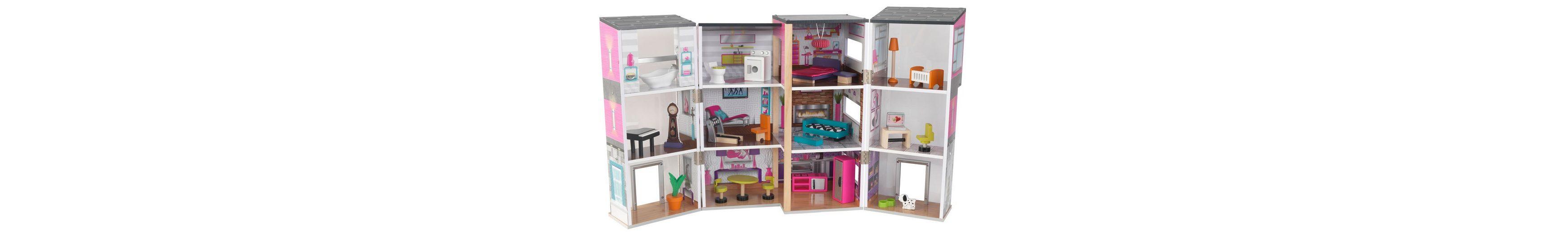 KidKraft® Puppenhaus inkl. 24-tlg. Möbelset, »Modernes Stadthaus Deluxe«