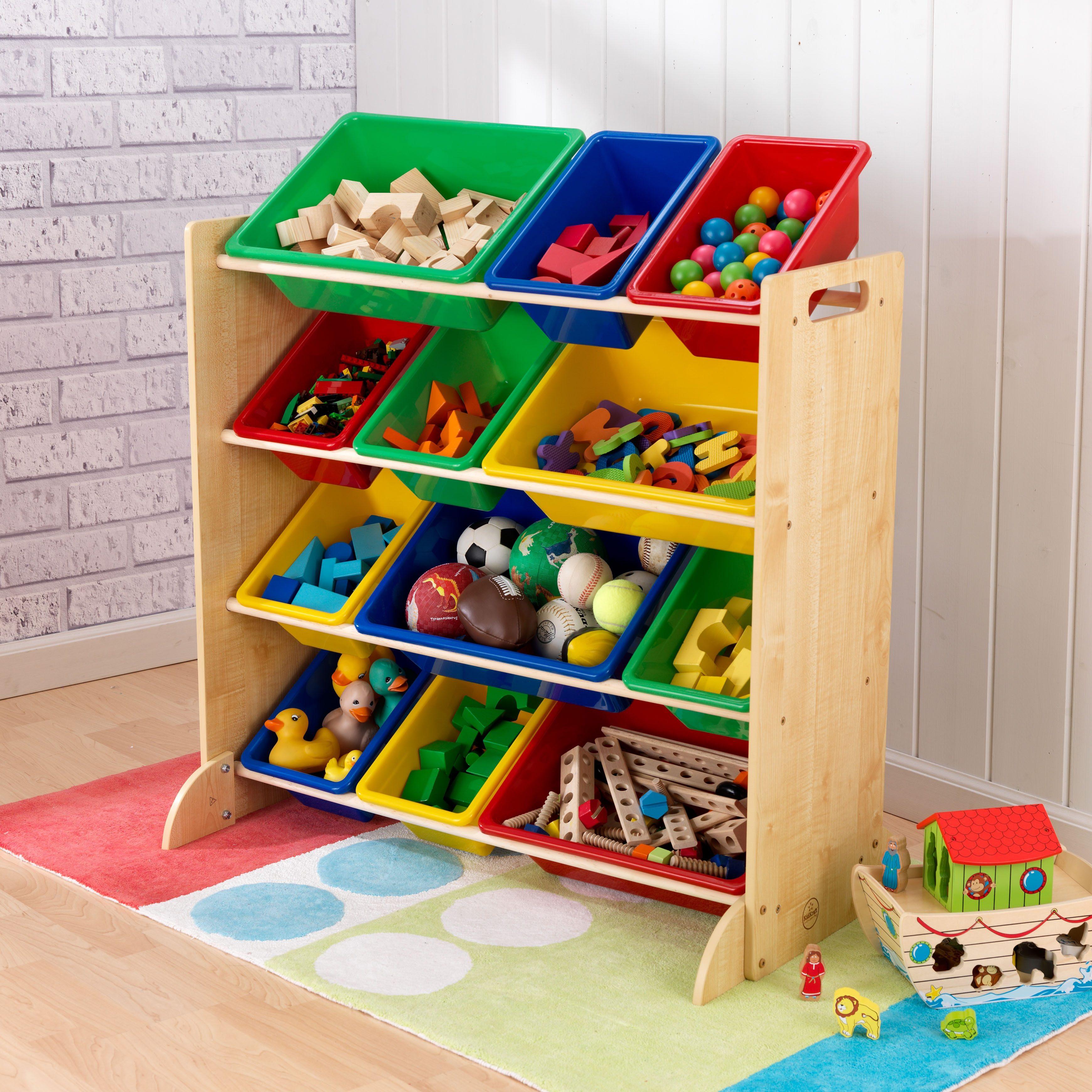 KidKraft® Kinderregal mit Aufbewahrungsboxen fürs Kinderzimmer, natur